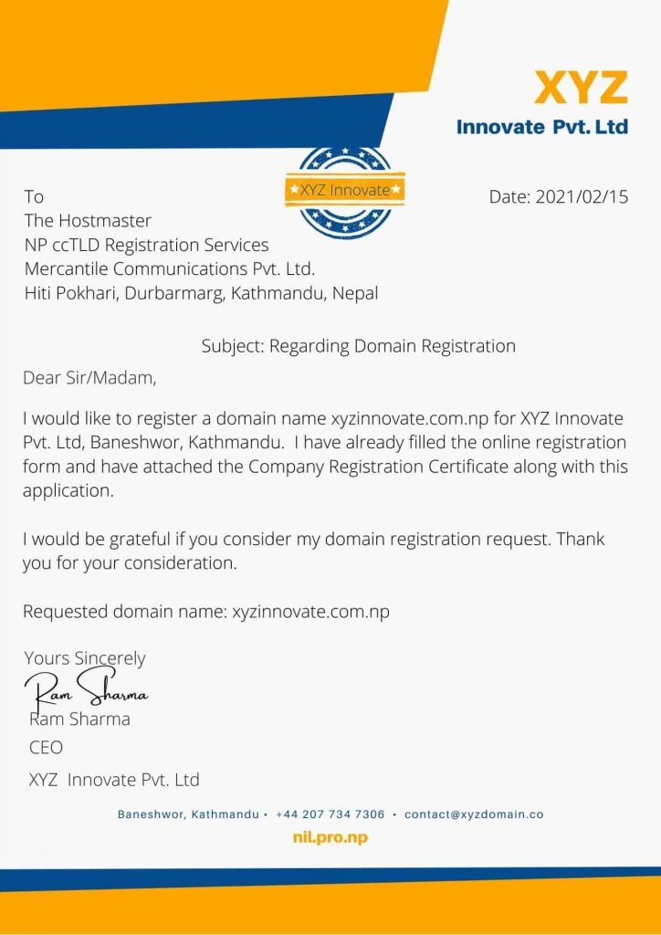 sample of com np domain registration cover letter for company