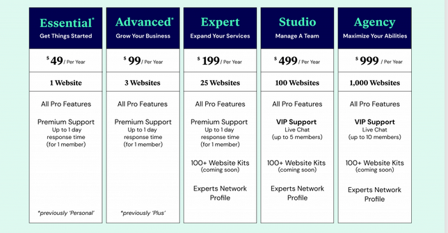 Elementor Pro New subscription plan  (pricing) (effective from March 9th, 2021 )